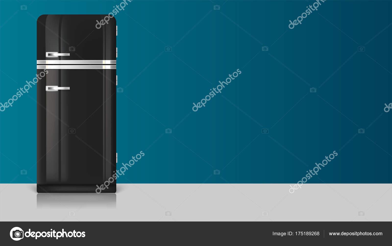 Kühlschrank Usa Retro : Realistische vintage schwarz kühlschrank symbol. vorlage mit retro