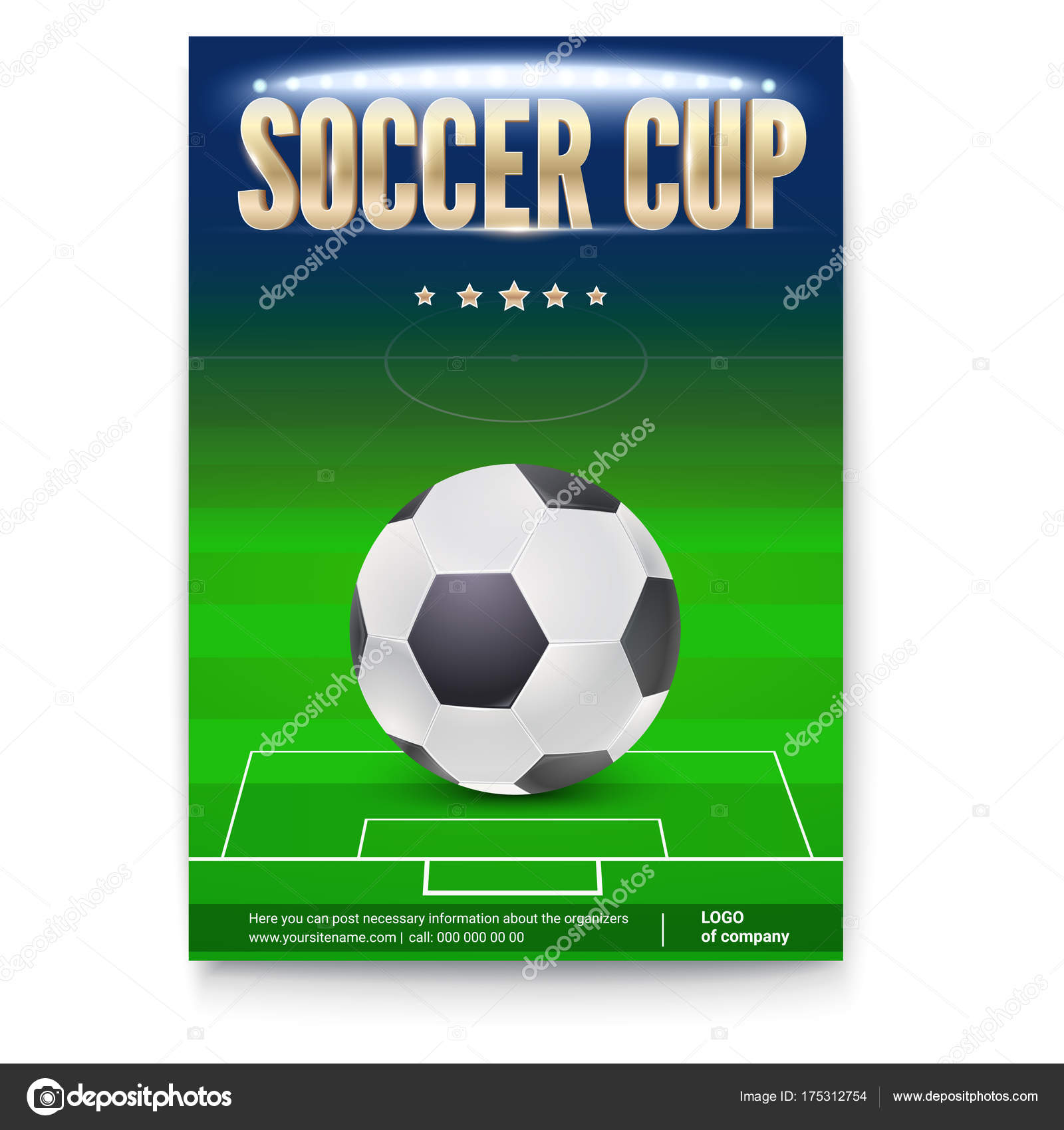 Soccer Cup Poster Template With Place For Information And Emblem Of Participants Night Football Stadium In