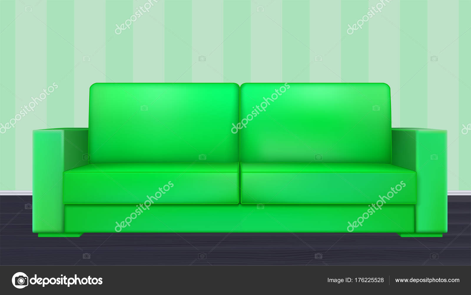 Grüne Modernen Luxus Sofa Für Wohnzimmer, Rezeption Oder In Der Lounge.  Realistische Ikone Der Einzelobjekt Im Zimmer Im Hintergrund Der Tapete Mit  Streifen ...