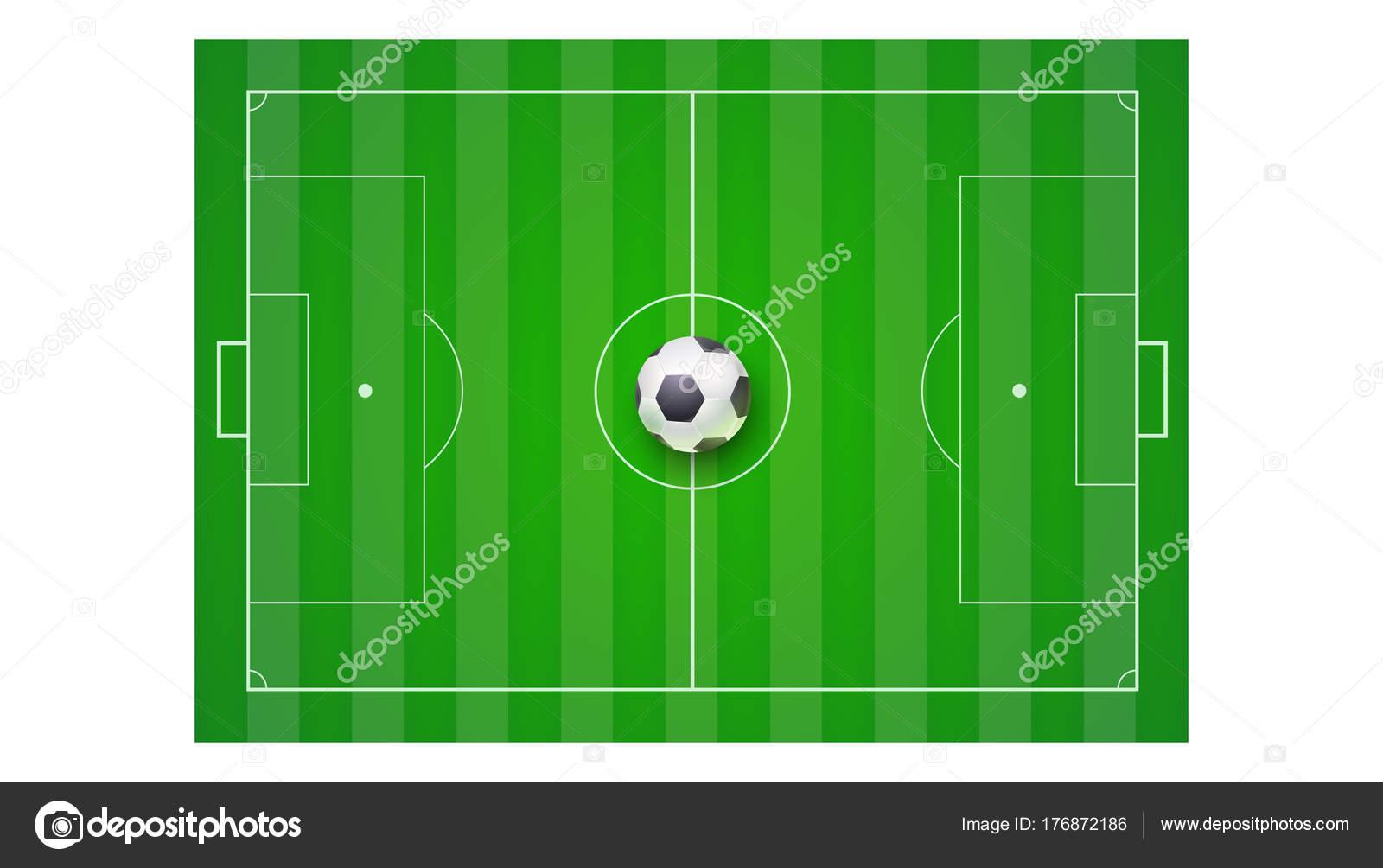 Boisko Do Piłki Nożnej Z Trawy I Piłka Widok Z Góry