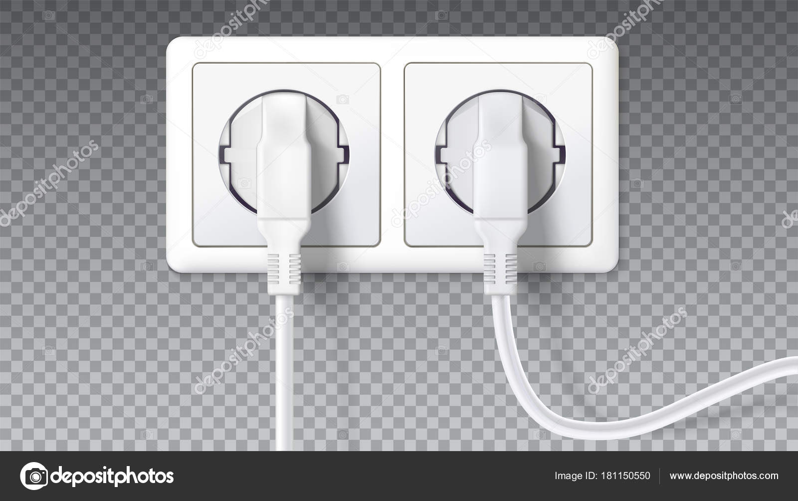 Elektrische Stecker in Steckdose. Realistische weißen Stecker in ...