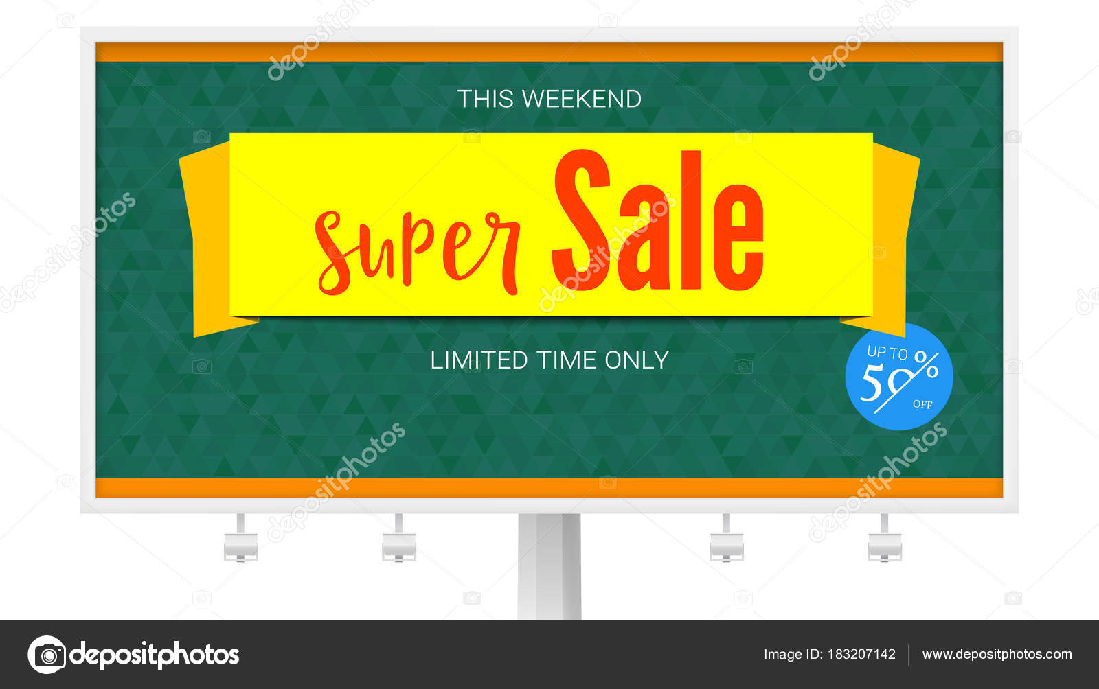 Billboard With Super Sale Yellow Banner On Green Background Badge Of Fifty Percent Discount Horizontal Poster For Advertising Events Of Holiday Sales On Backdrop From Green Triangles Stock Vector C Master Erik