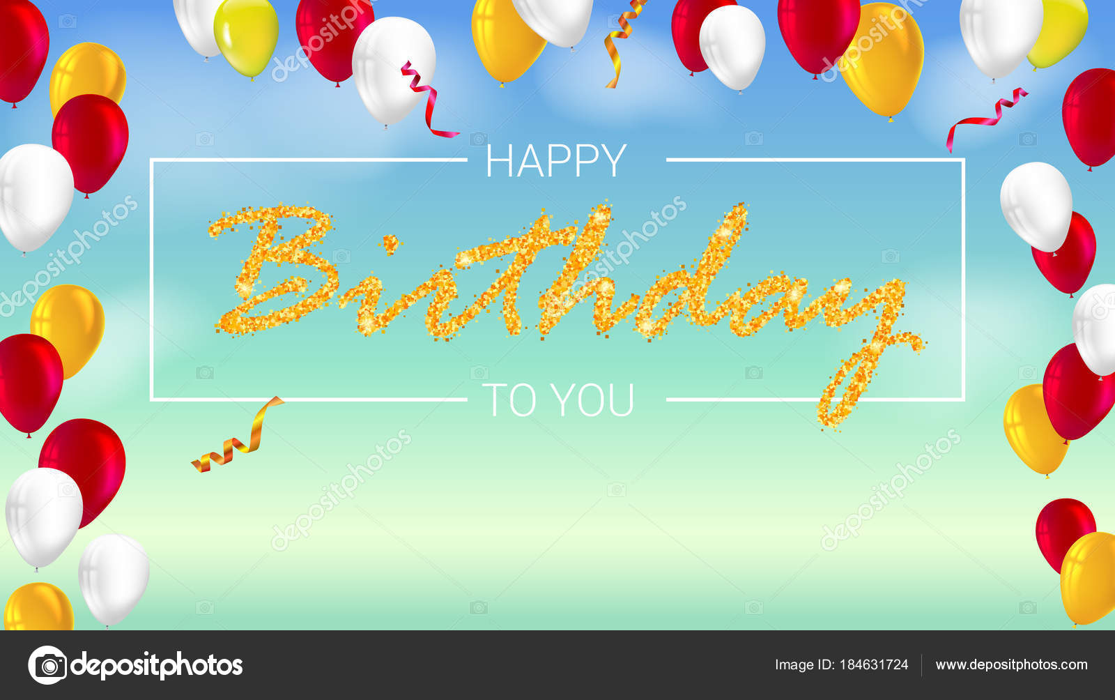 Happy birthday poster with shiny colored balloons with golden happy birthday poster with shiny colored balloons with golden glitter lettering and frame vector 3d illustration template for banner poster or greetings m4hsunfo
