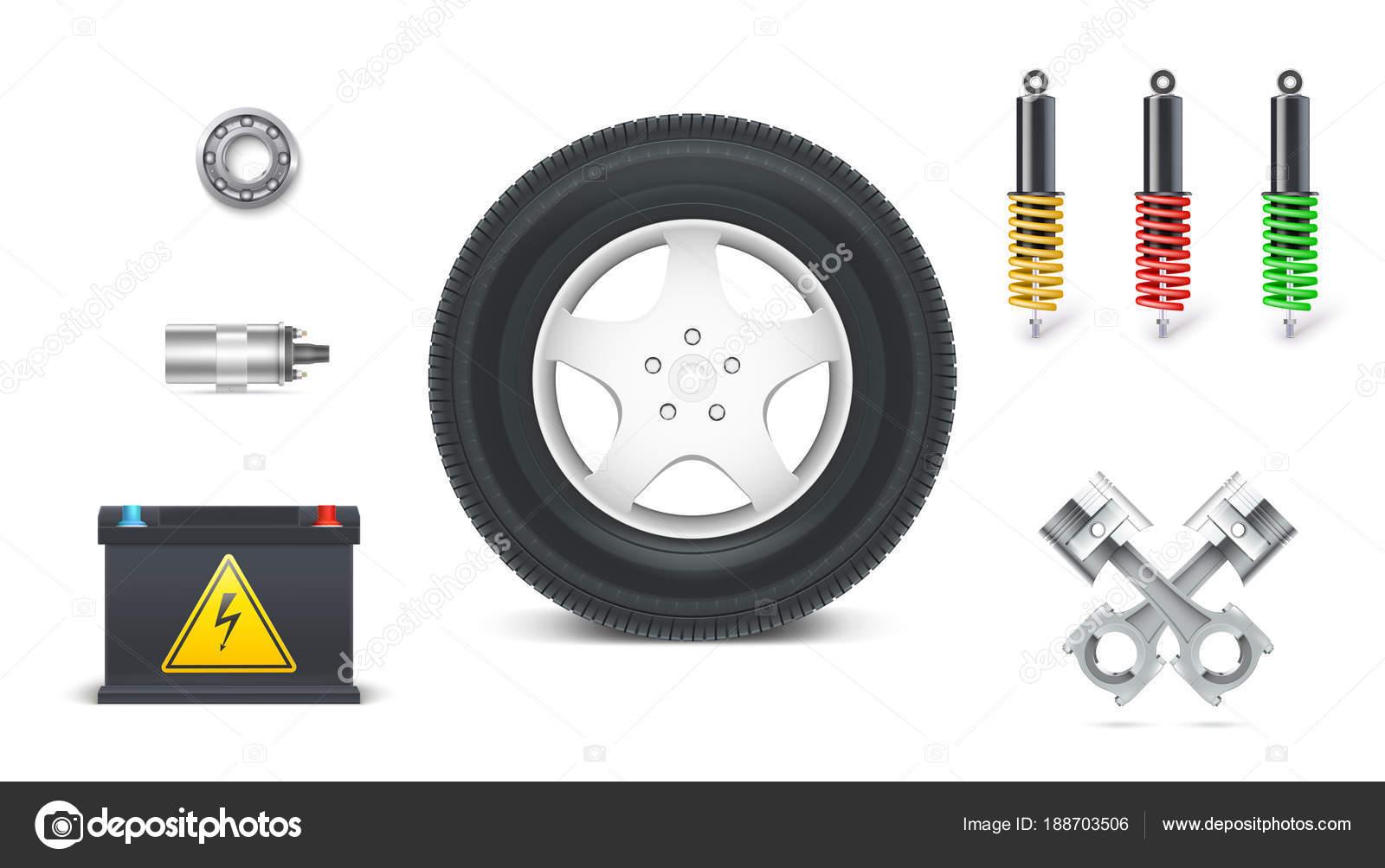 Symbole von Kfz-Teilen für Garage, Auto Service. Satz von automotive ...