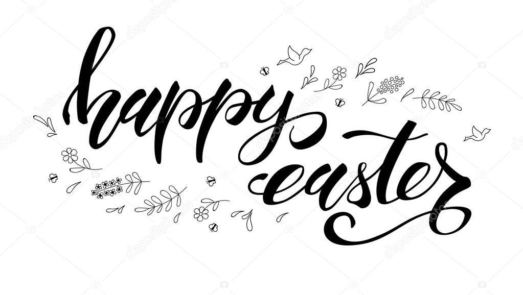 Saludo De Pascua Feliz. Plantilla Con