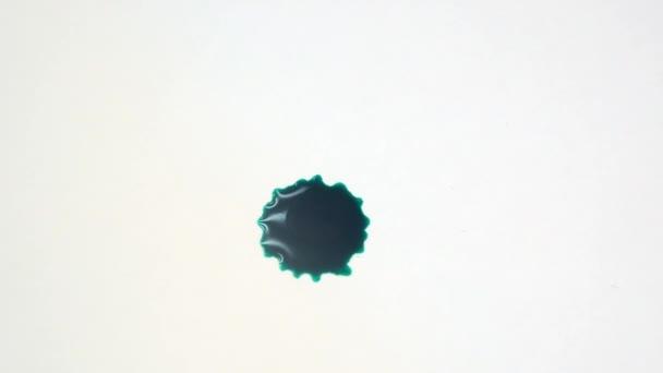 Kapky inkoustu na bílém pozadí. Kapky zelené barvy s odrazy světla. Inkoustové kapky padat na bílý papír, detailní pohled. Šablona pro videa a filmové grafiky.