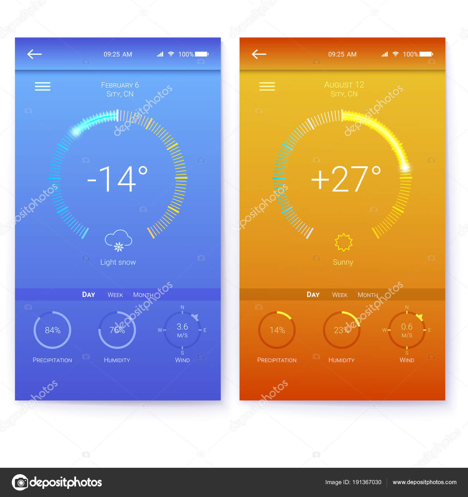 ui of mobile app page of weather summer and winter layout for
