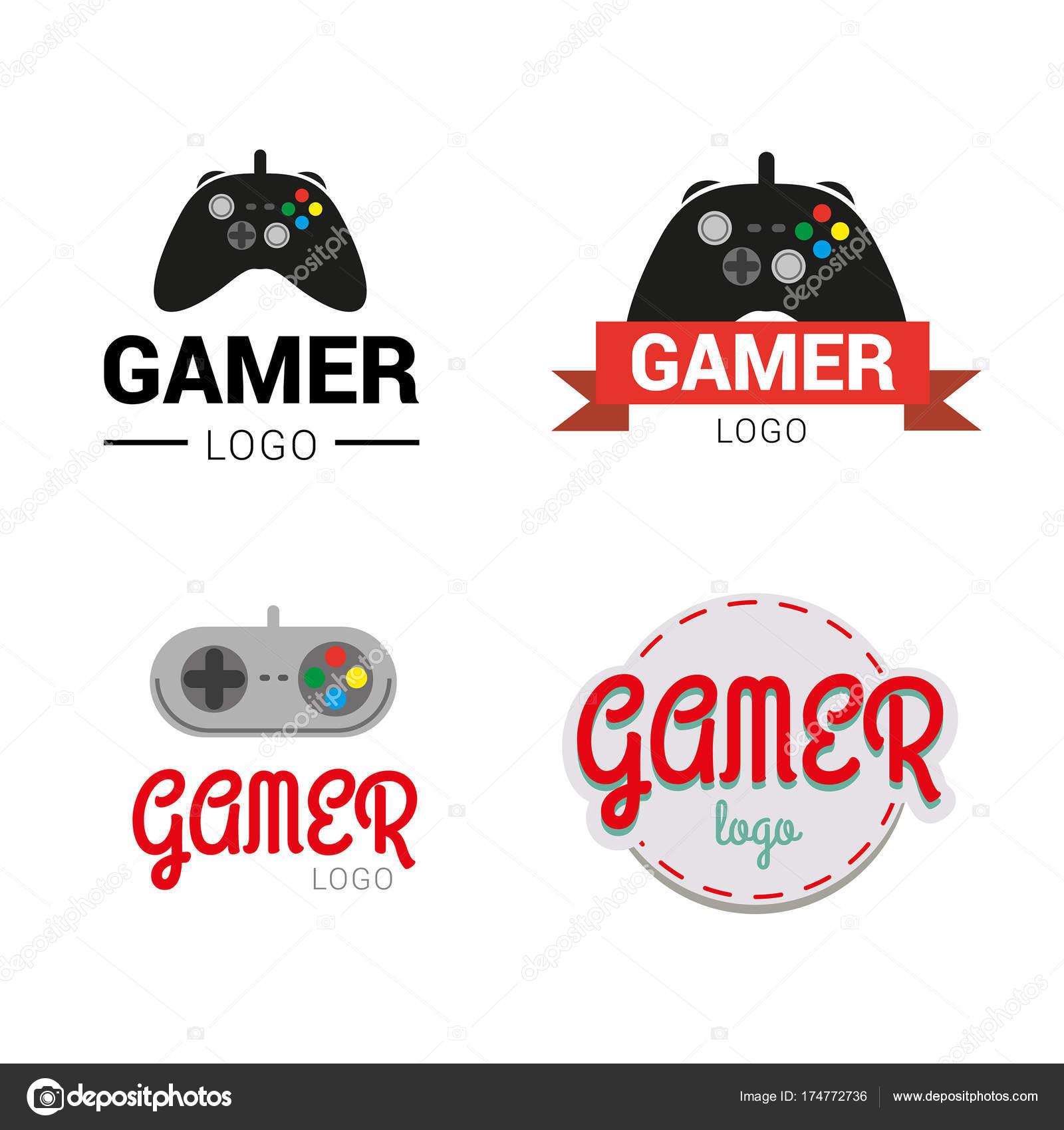 Vector Logos De Videojuegos Jugador Insignia Coleccion