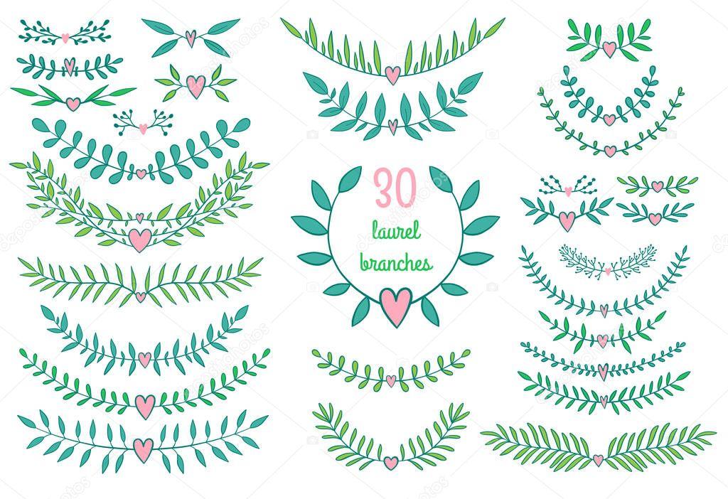 Recolección de ramas y laureles de naturaleza vecto — Archivo ...