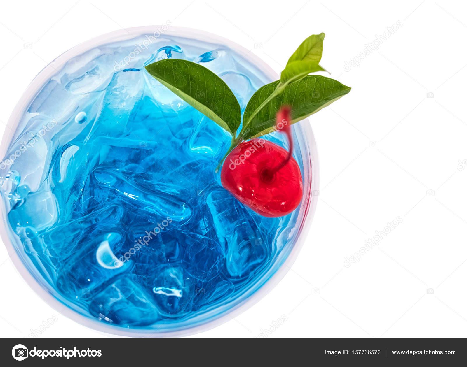 Chiuda In Su Blu Soda Italiana Alle Hawaii Con La Ciliegia Foto