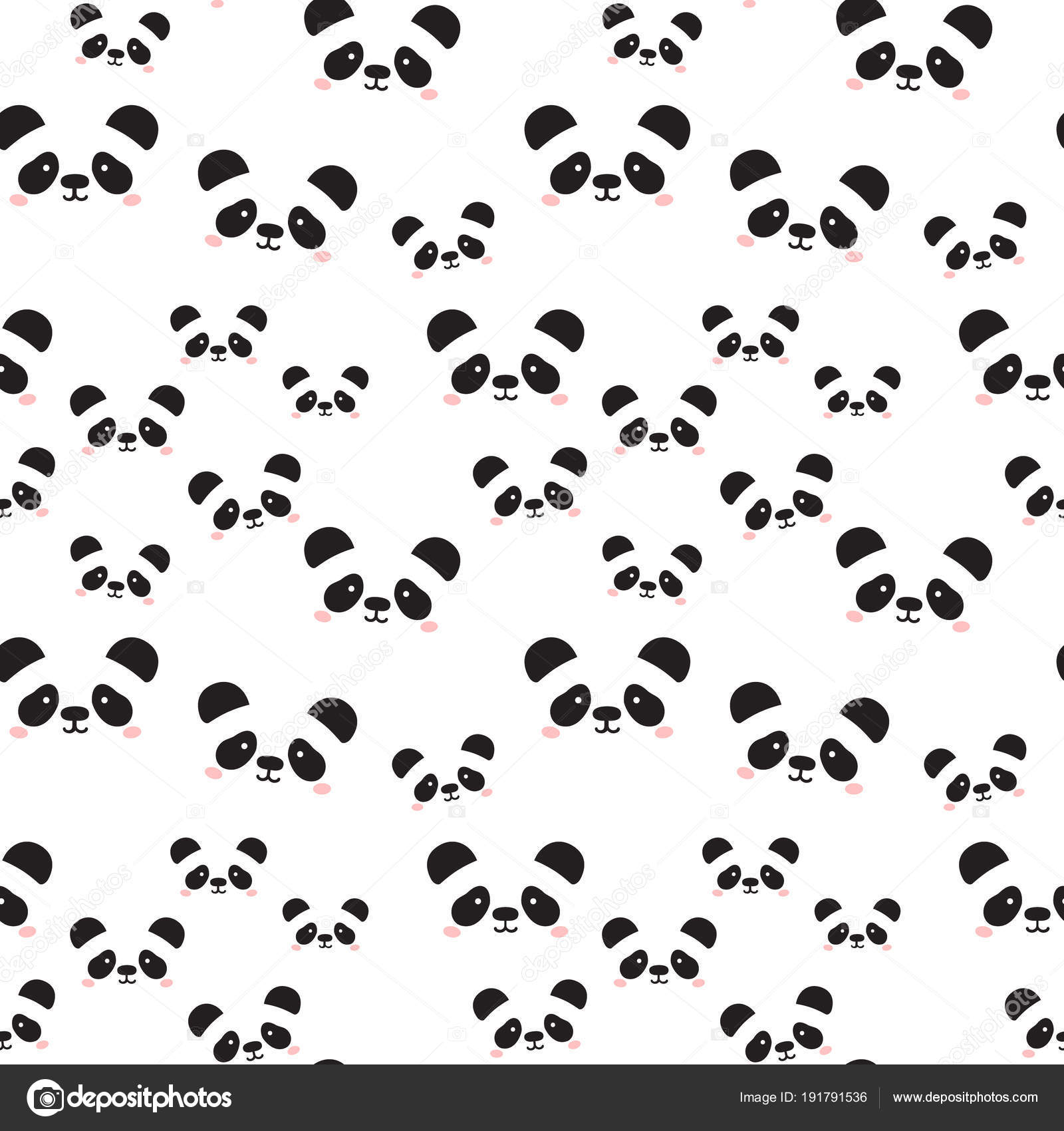 Cute Panda Face Seamless Wallpaper Seamless Pattern Of