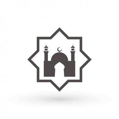 Mosque Icon, place of worship of Muslims. Islamic template, stencil, pattern, grey mosque, icon, isolated on white background. Vector.