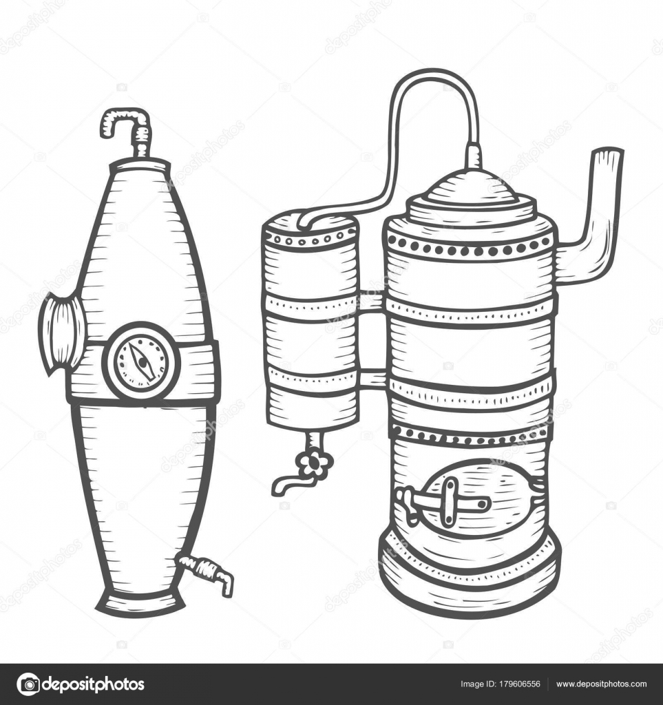 Distillation Apparatus Sketch Stock Vector Larysartygmailcom Diagram
