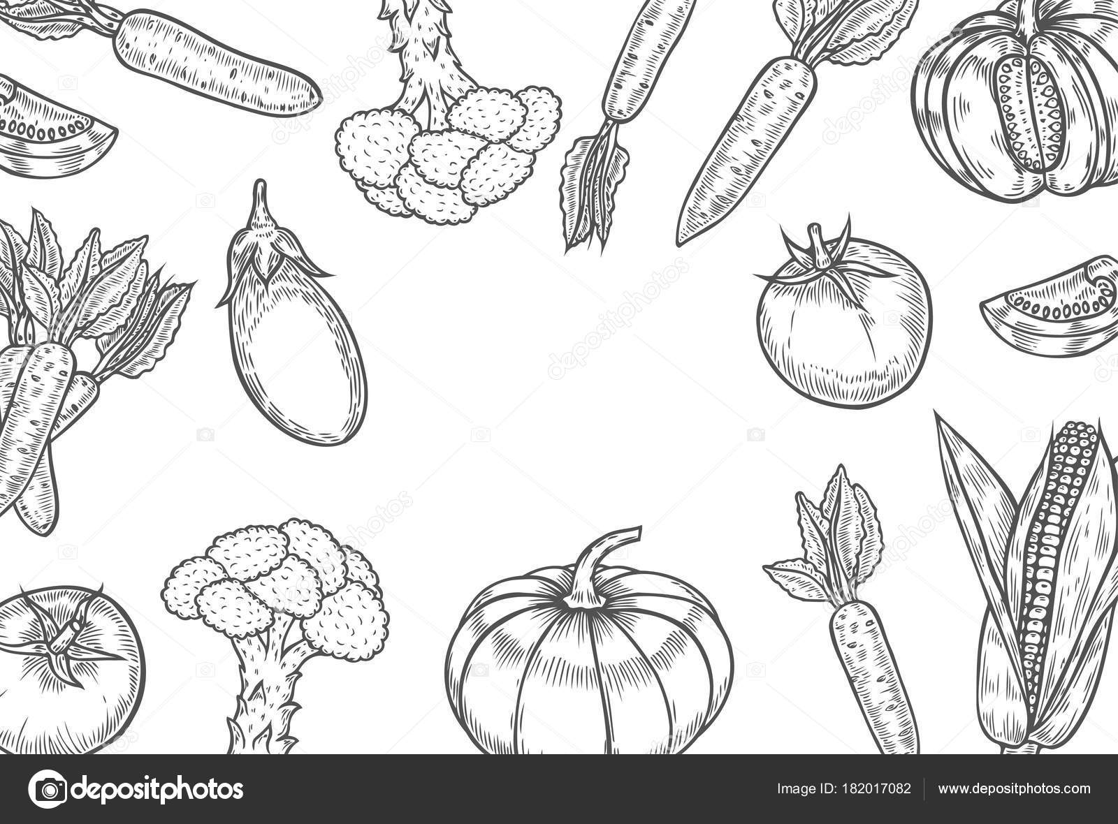 Vegetables Top View Frame Farmers Market Menu Design Template ...