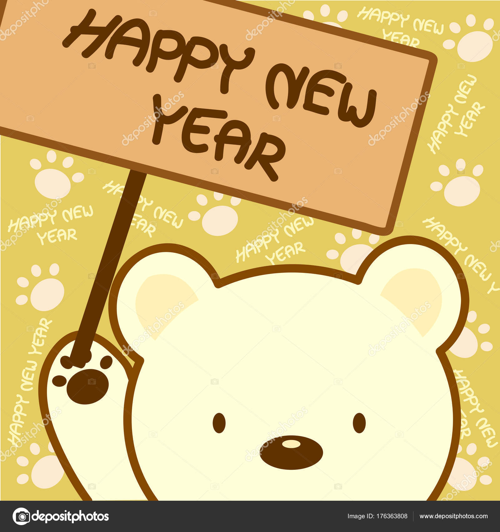 Animal Card Bear Holding Message Wooden Board Cute Background Stock Vector