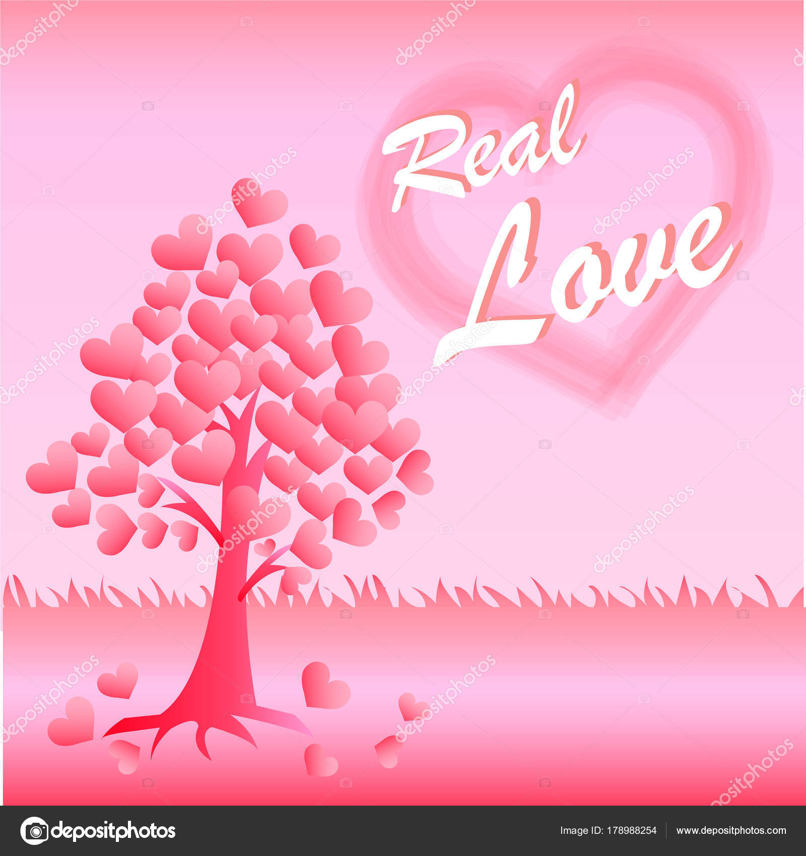 Valentine Card Love Hearts Tree Pink Background Real Love Message