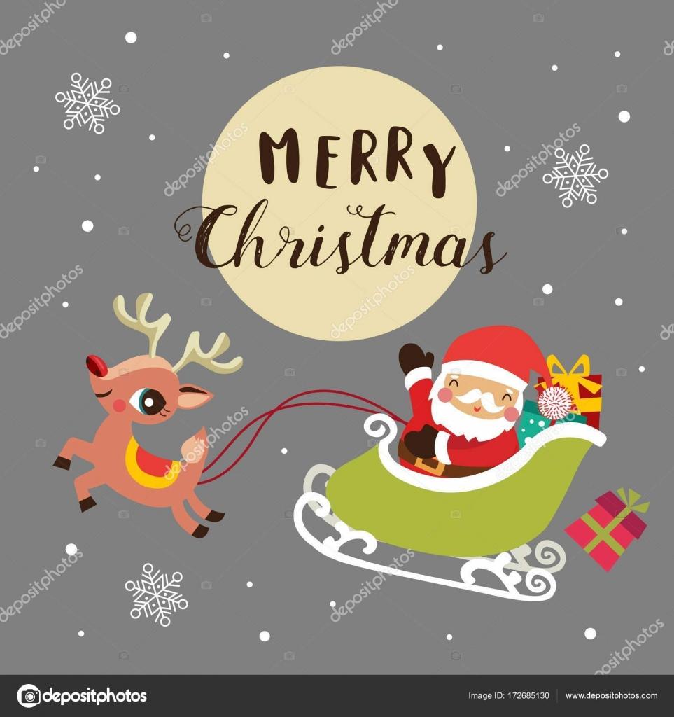 Sfondi Natalizi Renne.Sfondo Di Natale Con Cute Cartoon Babbo Natale E Renna Vettoriali