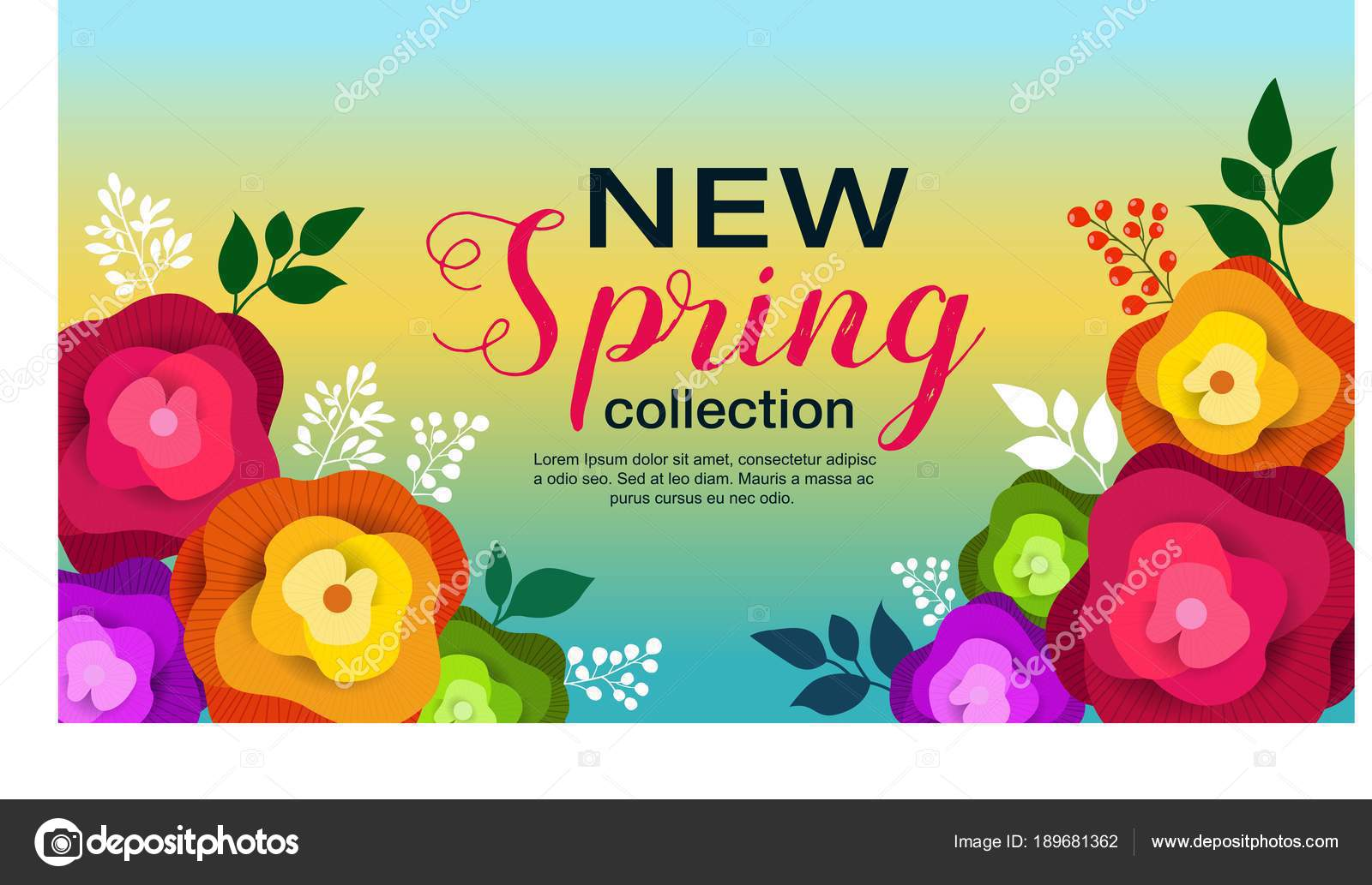spring banner paper flowers wallpaper flyer magazine online advertising actions stock vector