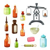 Fotografie Apothecary vector set. Vintage medicine bottles, pharmaceutical scales