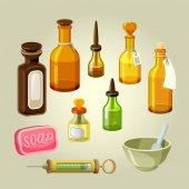 Fotografie Prázdné láhve, baňky, lektvary a kapky vektorové sada. Laboratorní léky