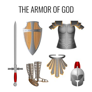 Set of armor of God elements isolated on white. Long sword of the spirit, breathpate, sandals of readiness, belt of truth, readiness wooden shield of faith, armour helmet of salvation. Vector stock vector