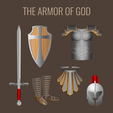 Armor of God collection of elements. Long sword of the spirit, readiness wooden shield of faith, armour helmet of salvation, breathpate, sandals of readiness, belt of truth. Vector illustration stock vector