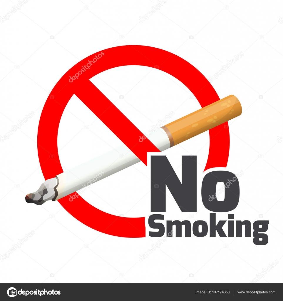 No Smoking Sign Red Alert Symbol Cross Cigarette On White Stock