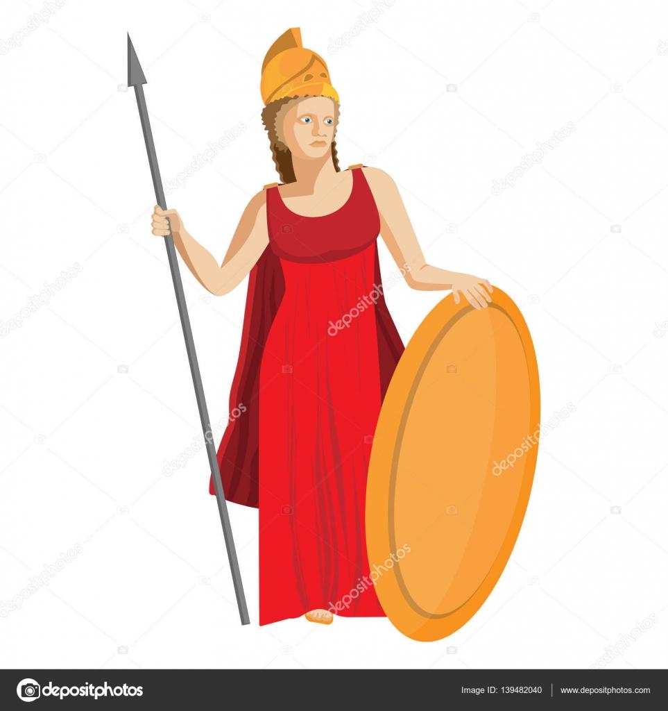 Mitológico Grego Athena Segurando A Lança E O Escudo No