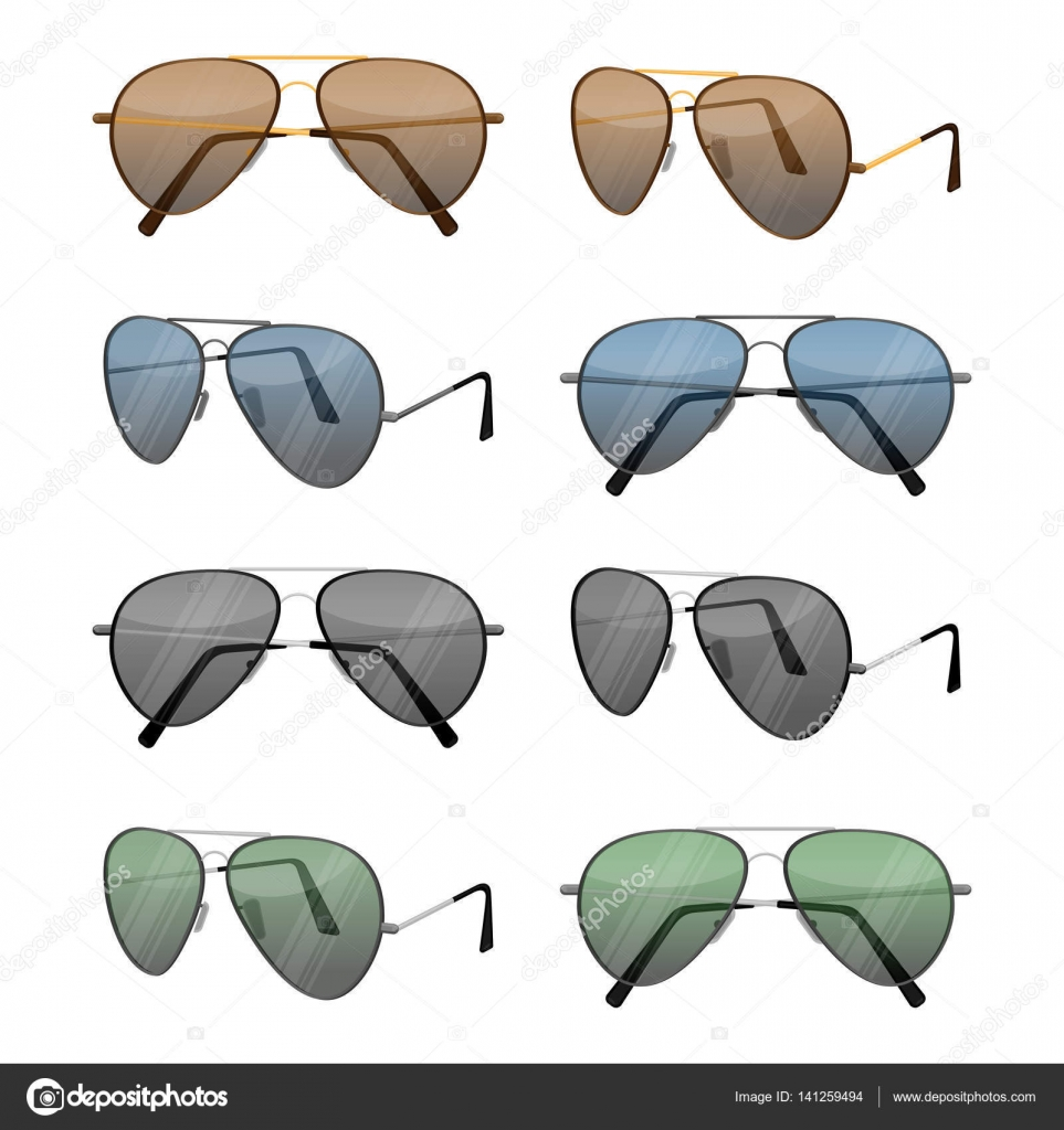 92c8fcaa2c Aviator γυαλιά ηλίου που απομονώνονται σε λευκό. Σκούρο καφέ αντανακλαστικό  φακό με πολύ λεπτό μεταλλικό σκελετό με διπλή γέφυρα και ξιφολόγχη  ακουστικά ή ...