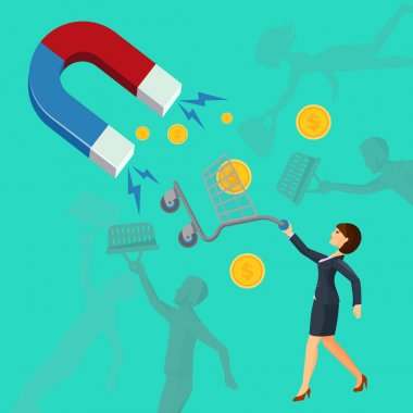 Magnet attracts money cart with woman. Attracting vector investments concept