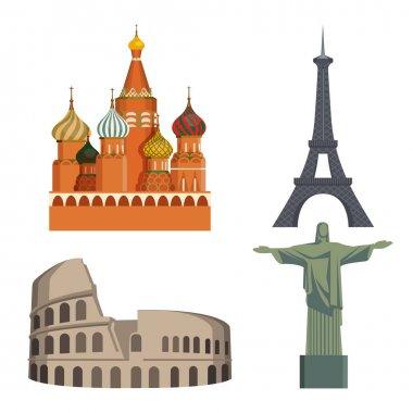 """Картина, постер, плакат, фотообои """"мировые достопримечательности кремль, эйфелева башня, итальянский колизей, статуя христа """", артикул 141255600"""
