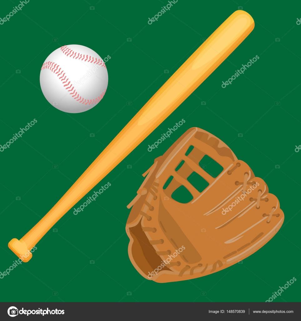 Baseball Ausrüstung bunten Vektor flach auf weiß gesetzt ...