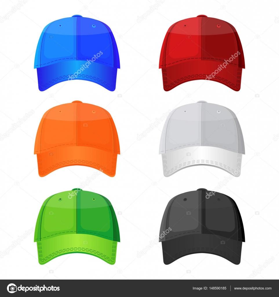 6ab0a582bb33b Gorras de béisbol colores aisladas sobre fondo blanco. Headwea deportivo  con estilo — Vector de