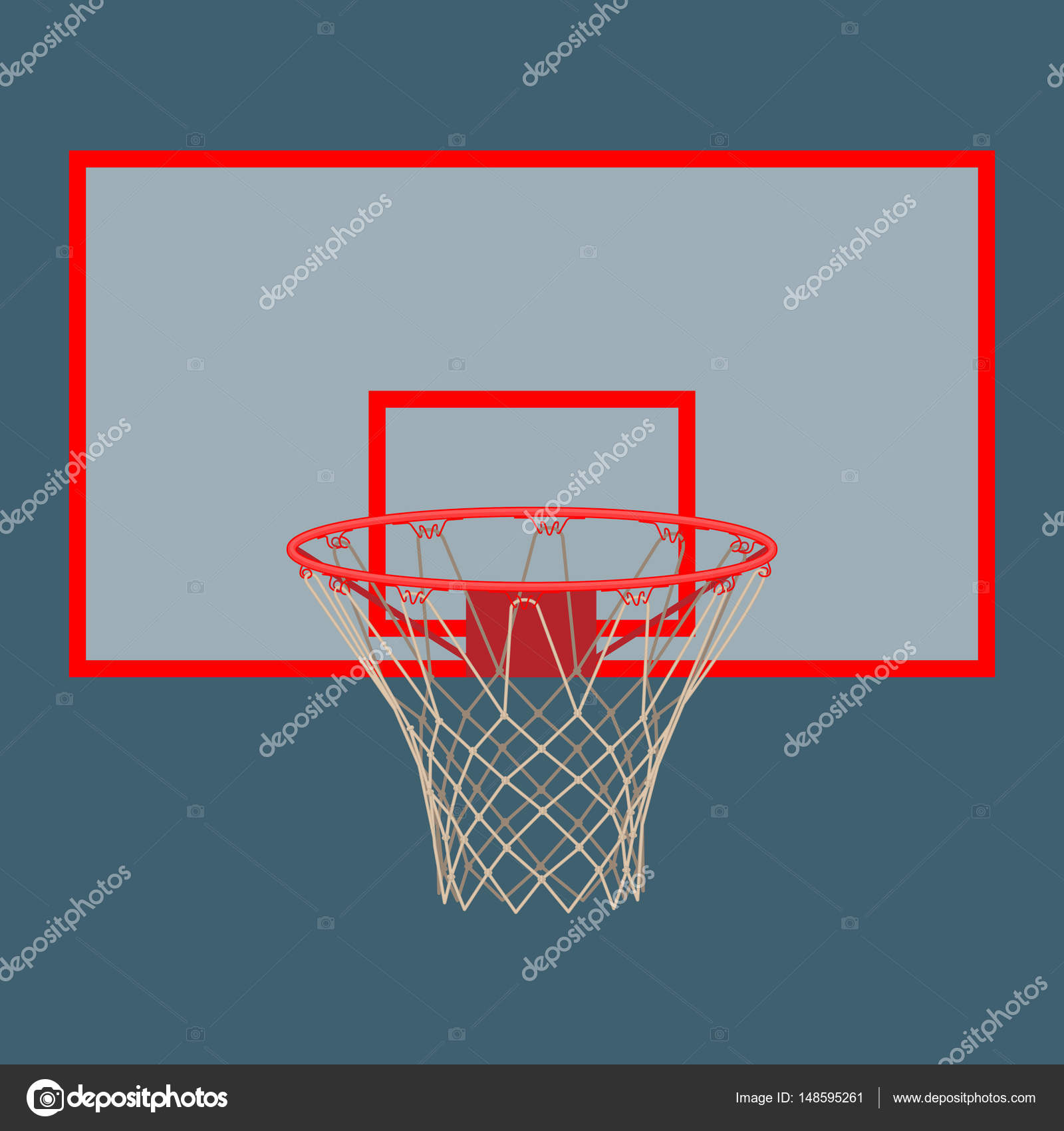 Basketball Hoop On Backboard Isolated White Background Stock Diagram Vector