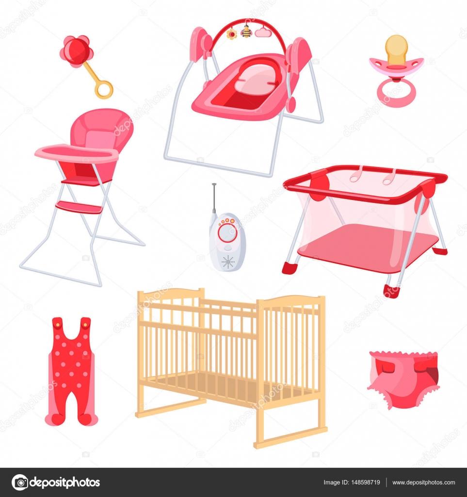 Muebles de dormitorio para niña recién nacida sobre fondo blanco ...