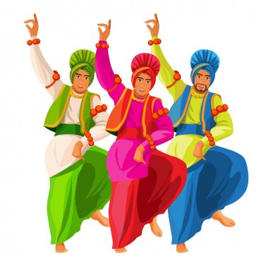 Bhangra dancers in national cloth vector illustration isolated on white.
