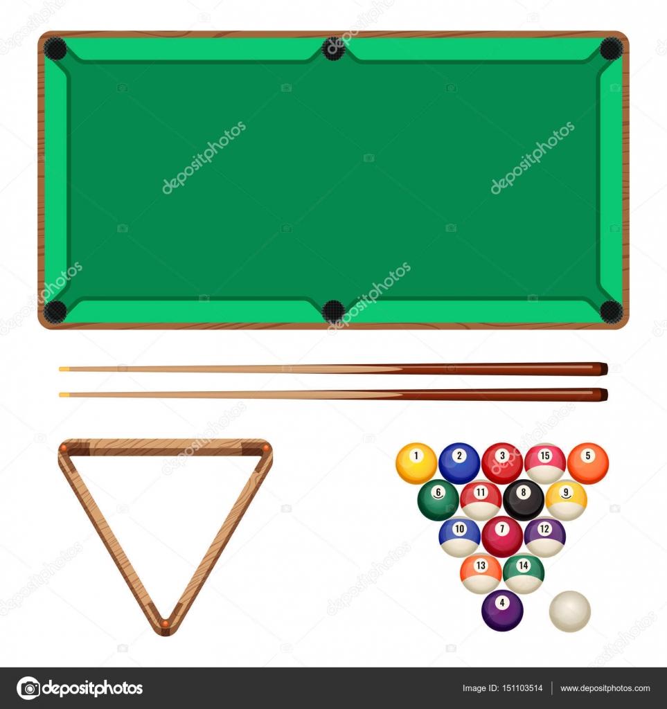 Snooker e pool di elementi di gioco isolati su bianco. Tavolo da ...