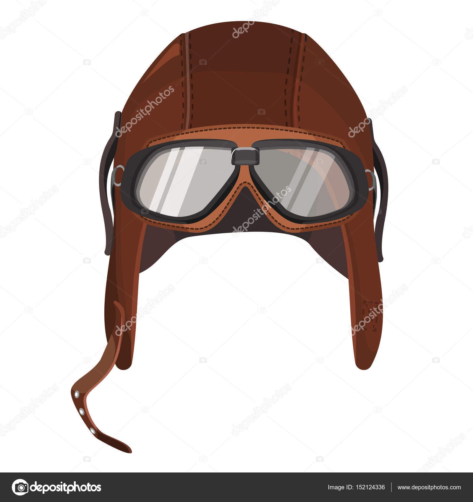 79d2a2915a Ilustración de vector de gorra de cuero con gafas para los pilotos, equipos  para la aviación - sombrero de piloto aviador mexico — Vector ...