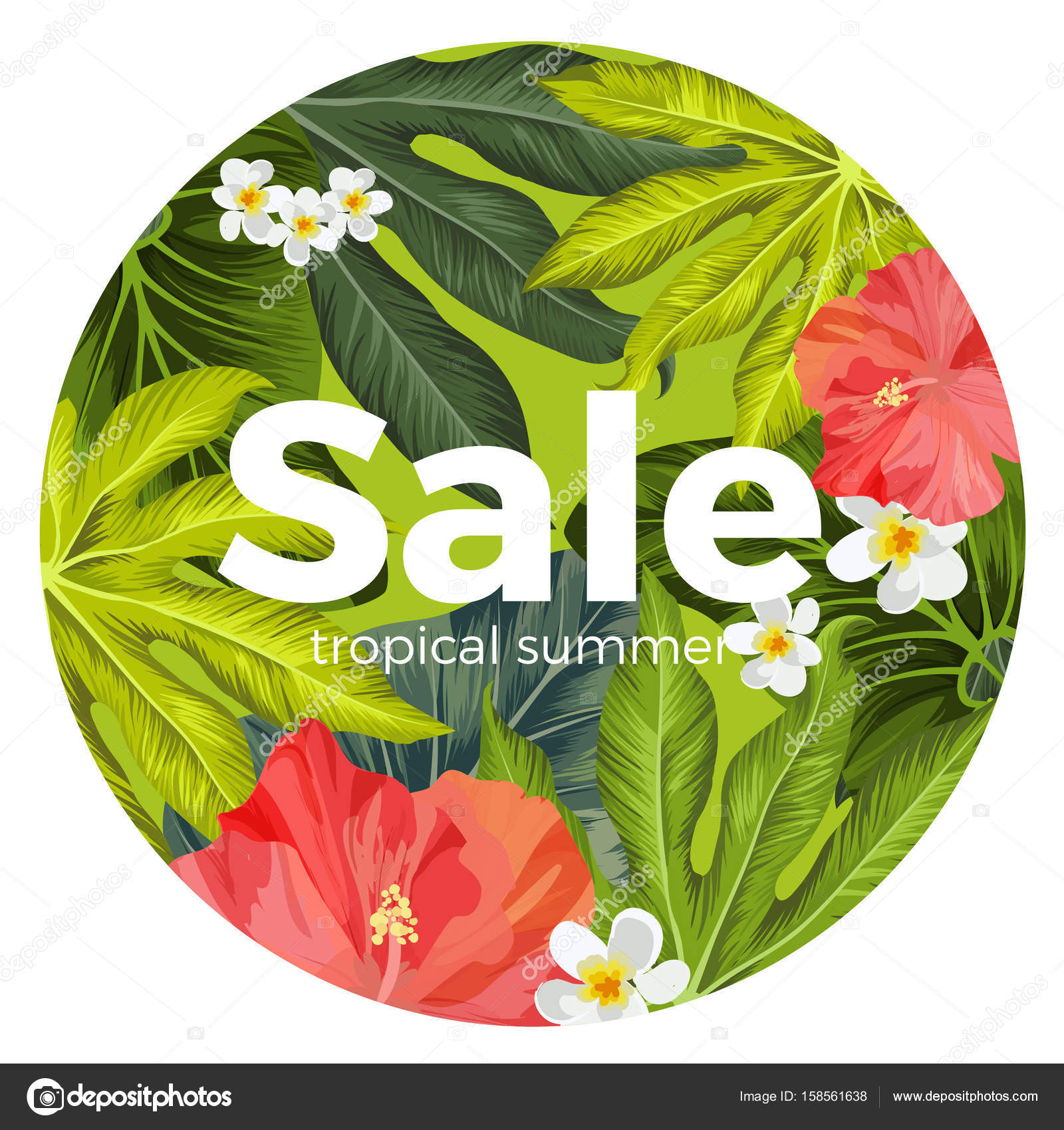 Sale Promotion Card With Tropical Flowers And Leaves On Background