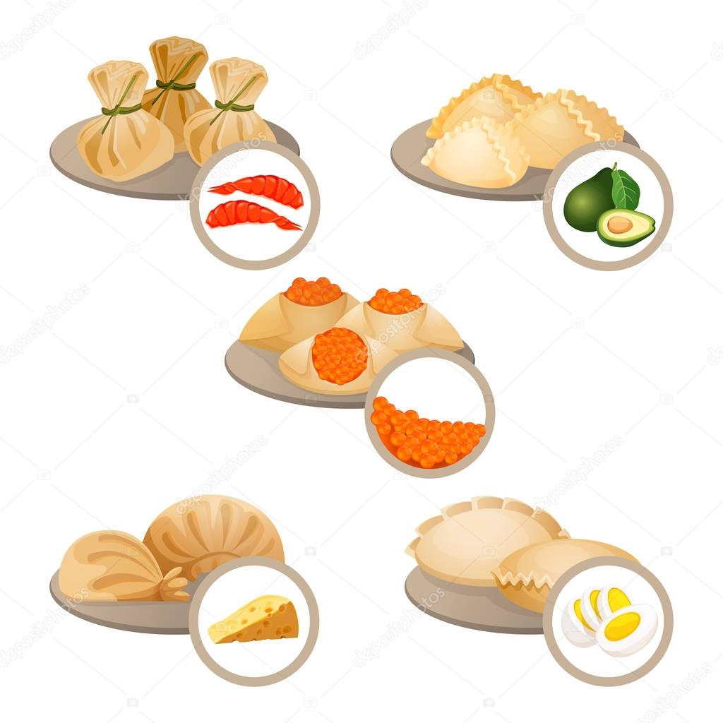 dim sum treats in plates set wrapped dough with shrimps cheese and egg dim sum with avocado and red caviar vector illustration isolated on white premium vector in adobe illustrator ai dim sum treats in plates set wrapped