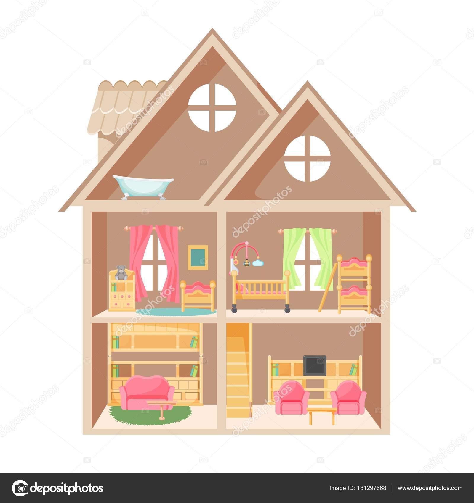 Puppenhaus Mit Zwei Stockwerken Und Kleine Möbel U2014 Stockvektor