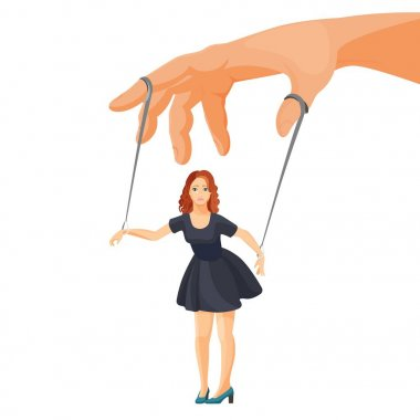 Domestic violence and manipulation over woman metaphorical illustration