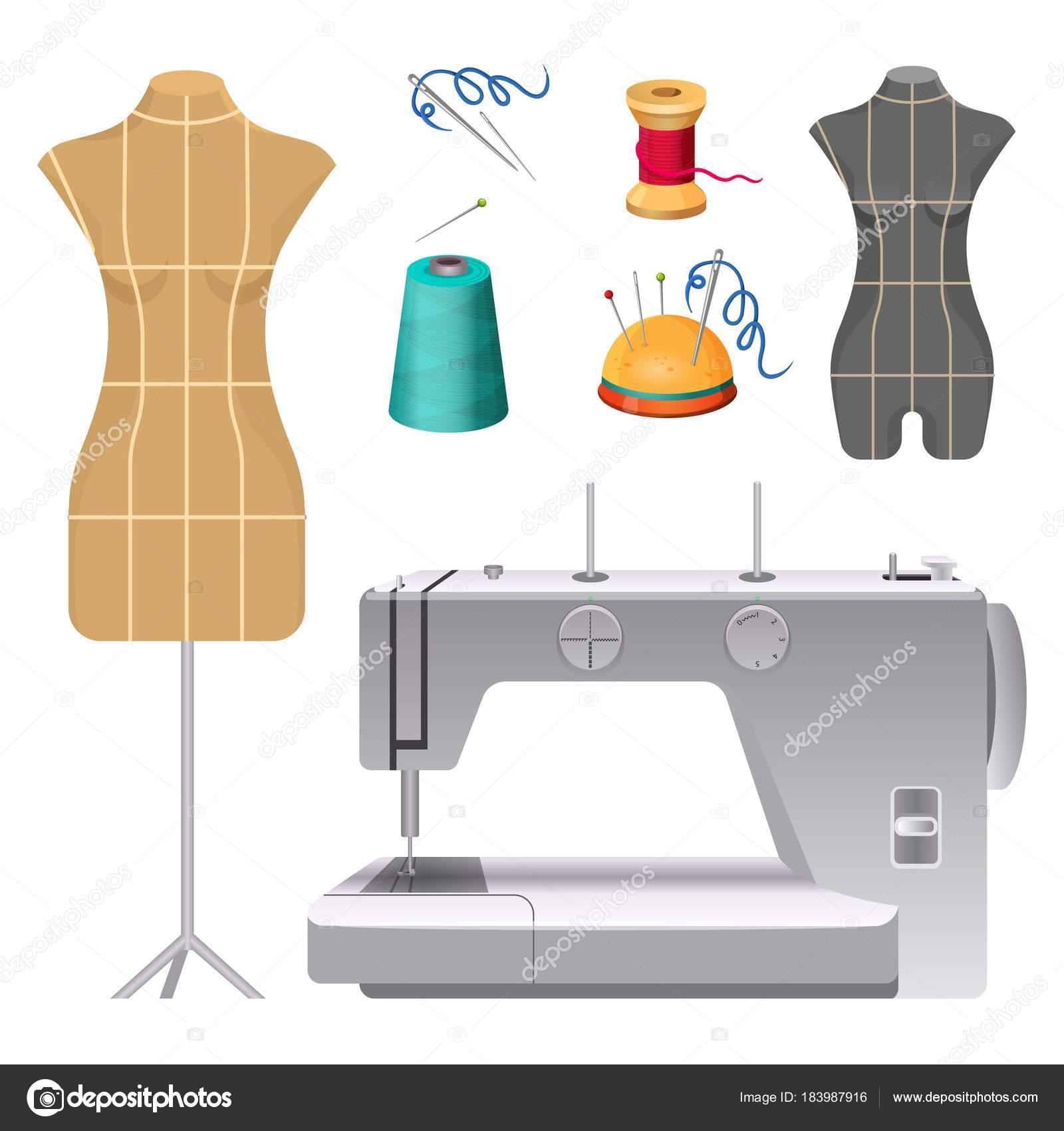 Dummies für Kleidung und moderne elektrische Nähmaschine ...