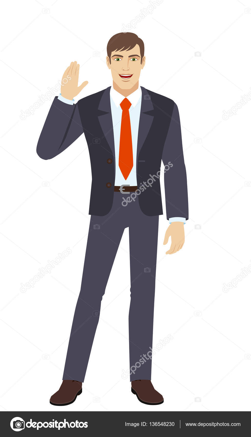 Businessman greeting someone stock vector komissar008 136548230 businessman greeting someone with his hand raised up full length portrait of businessman in a flat style vector illustration vector by komissar008 m4hsunfo