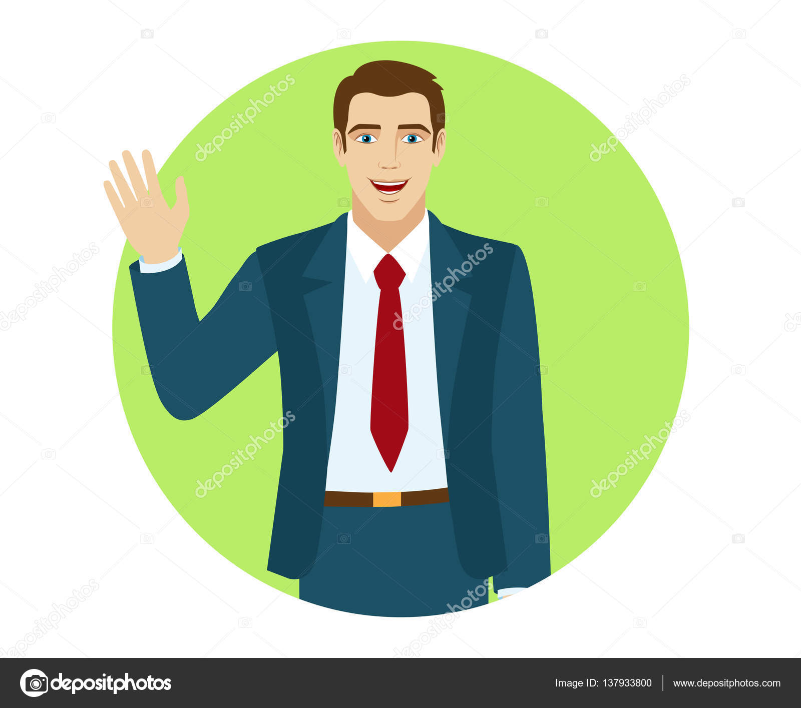 Businessman greeting someone stock vector komissar008 137933800 businessman greeting someone with his hand raised up portrait of businessman in a flat style vector illustration vector by komissar008 m4hsunfo
