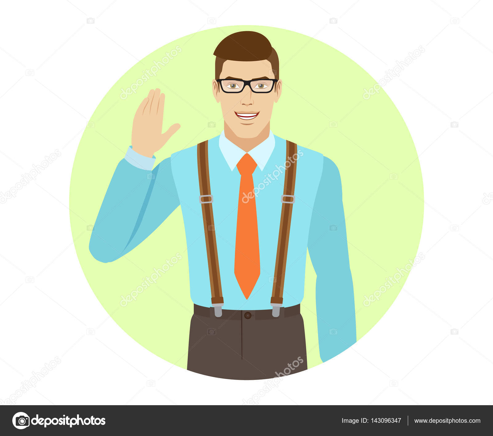 Businessman greeting someone with his hand raised up stock vector businessman greeting someone with his hand raised up stock vector m4hsunfo