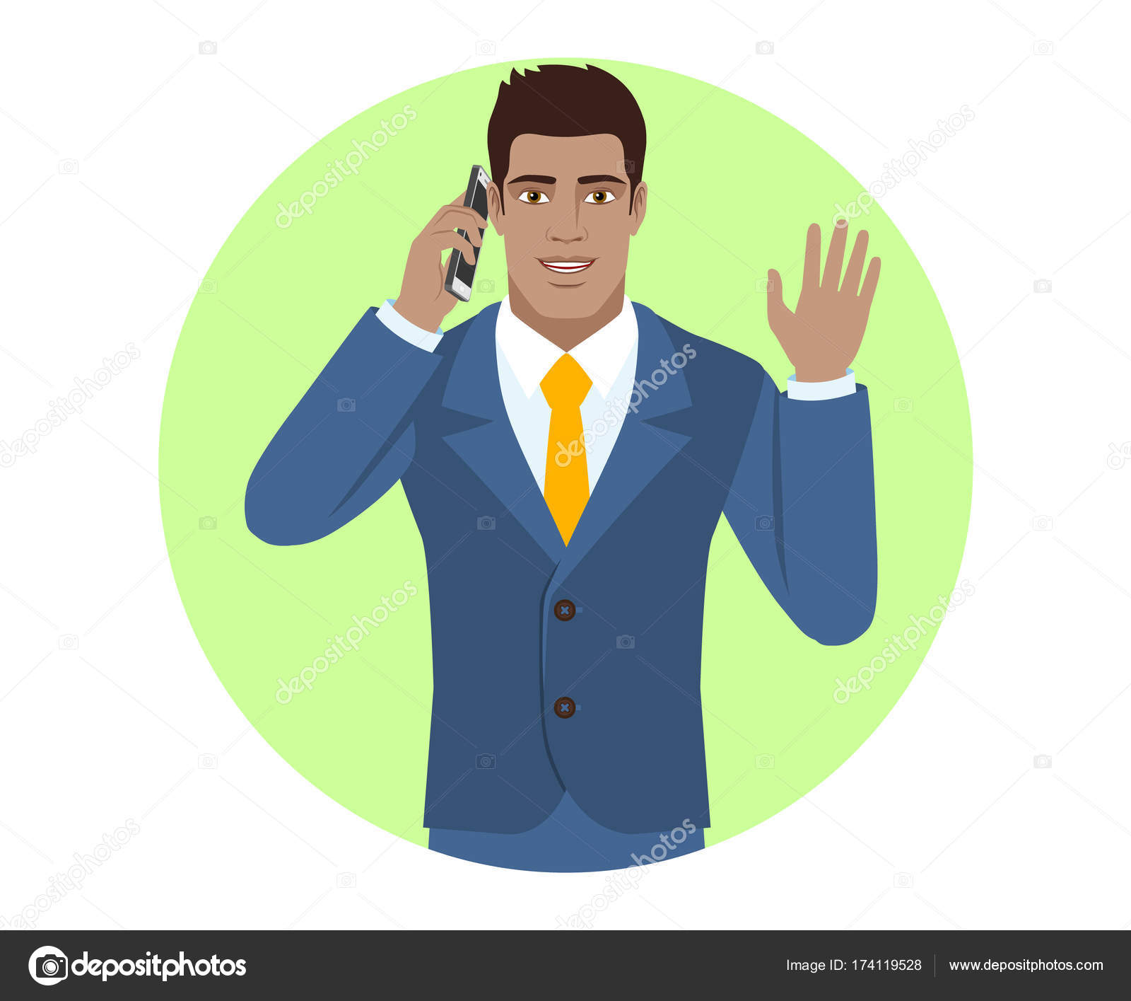 Businessman talking on the mobile phone and greeting someone wit businessman talking on the mobile phone and greeting someone wit stock vector m4hsunfo