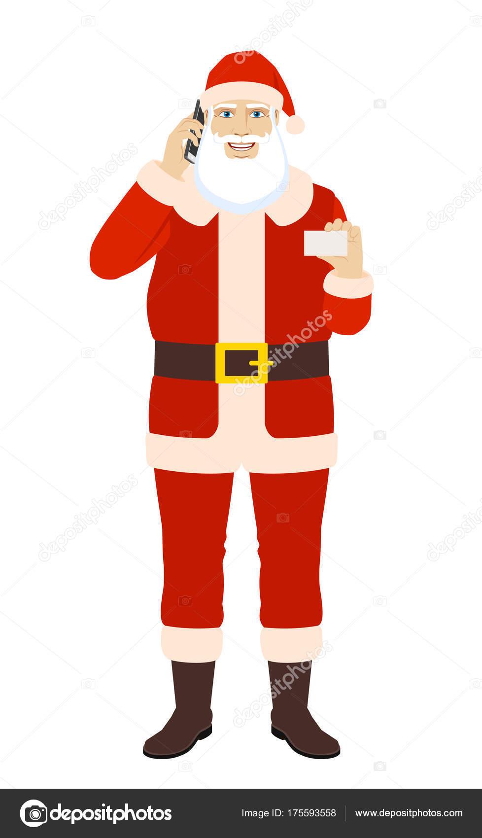 Santa Claus Parler Au Tlphone Mobile Et Affichage De La Carte Visite Portrait Pleine Longueur Du Pre Nol Dans Un Style Plat