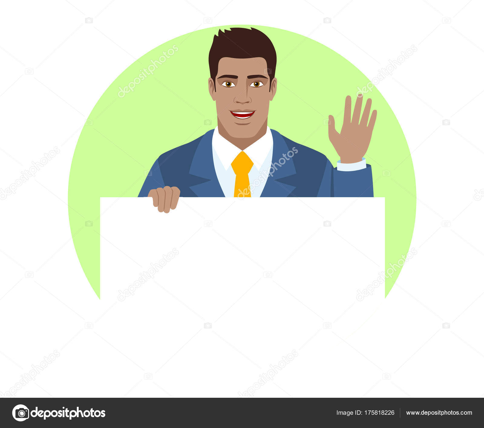 Businessman holding white blank poster and greeting someone with businessman holding white blank poster and greeting someone with his hand raised up portrait of black business man in a flat style vector illustration m4hsunfo