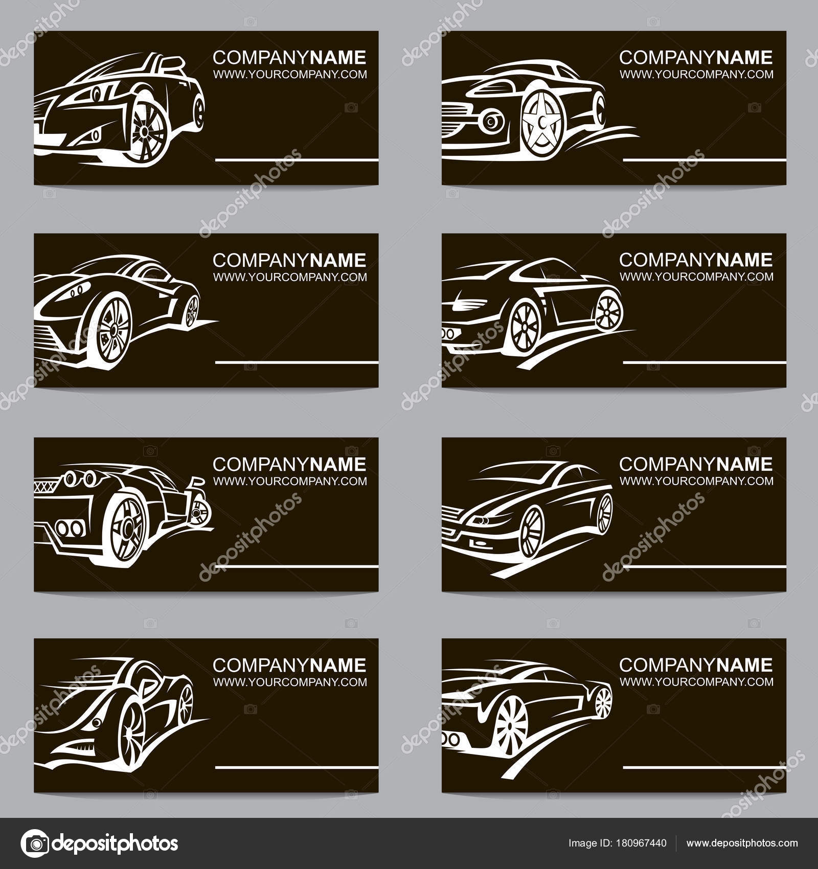 Collection Black Business Cards Cars — Stock Vector © alexkava ...